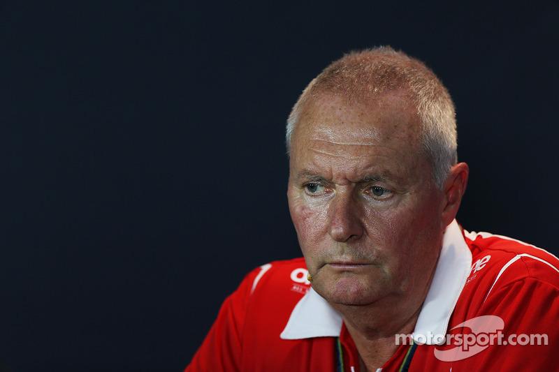 John Booth, Marussia F1 Team, Team Principal, alla conferenza stampa FIA