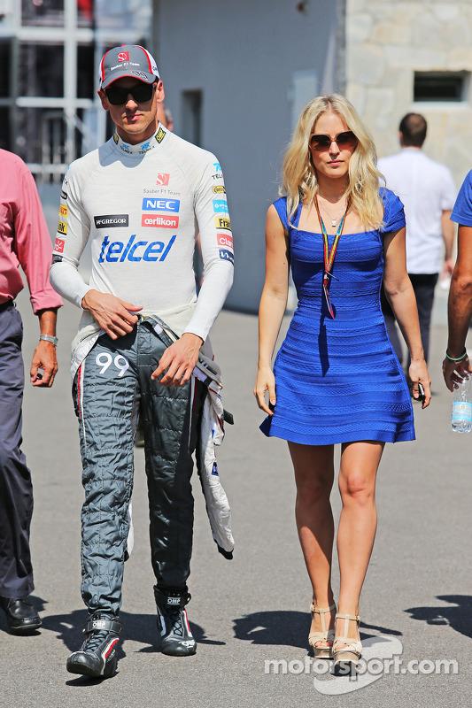 Adrian Sutil, Sauber con su novia Jennifer Becks (GER)