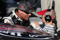 Race winner Kevin Harvick with son Keelan