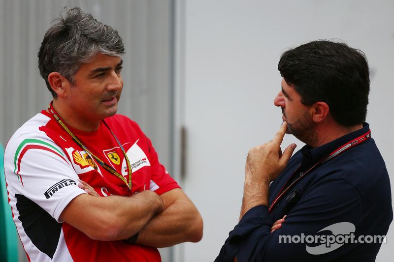 (L to R): Marco Mattiacci, Ferrari Team Principal with Luis Garcia Abad, Driver Manager of Fernando Alonso, Ferrari