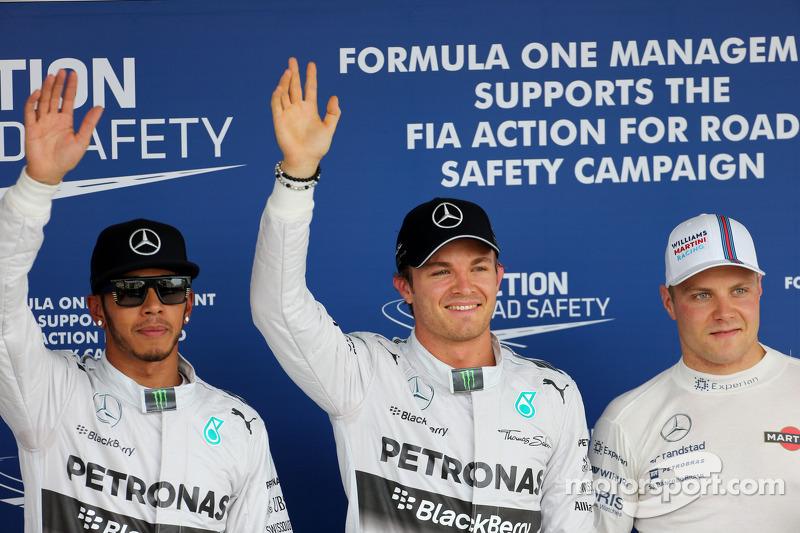 Ganador de la pole Nico Rosberg, segundo Lewis Hamilton y tercero Valtteri Bottas