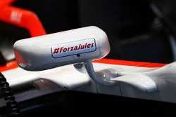 The Marussia F1 Team MR03 of Max Chilton, Marussia F1 Team carries the #JB17 hashtag as a message of support for Jules Bianchi