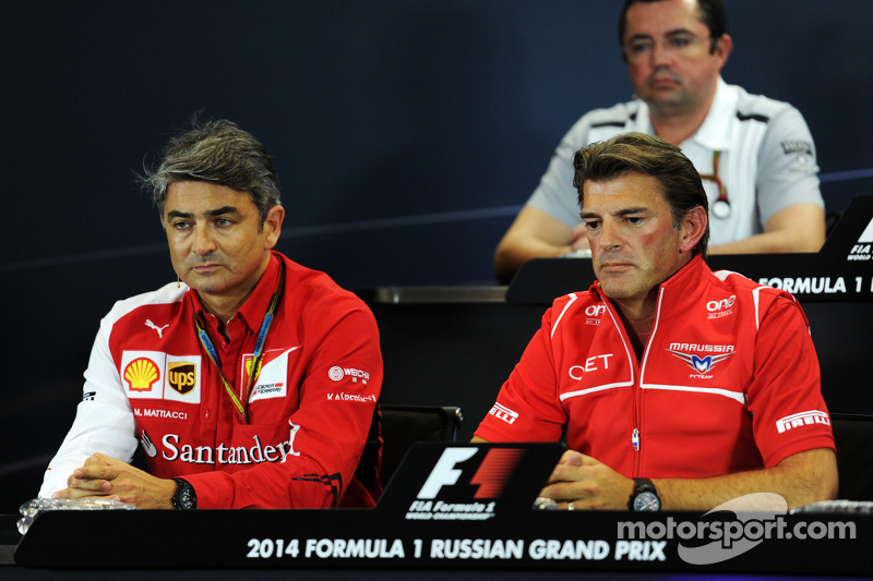 (L to R): Marco Mattiacci, Ferrari Team Principal and Graeme Lowdon, Marussia F1 Team Chief Executiv