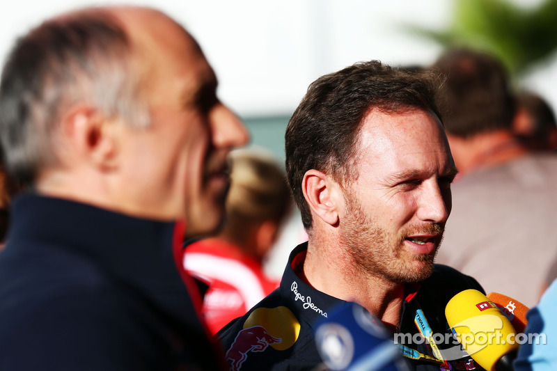 (L to R): Franz Tost, Scuderia Toro Rosso Team Principal and Christian Horner, Red Bull Racing Team Principal with the media