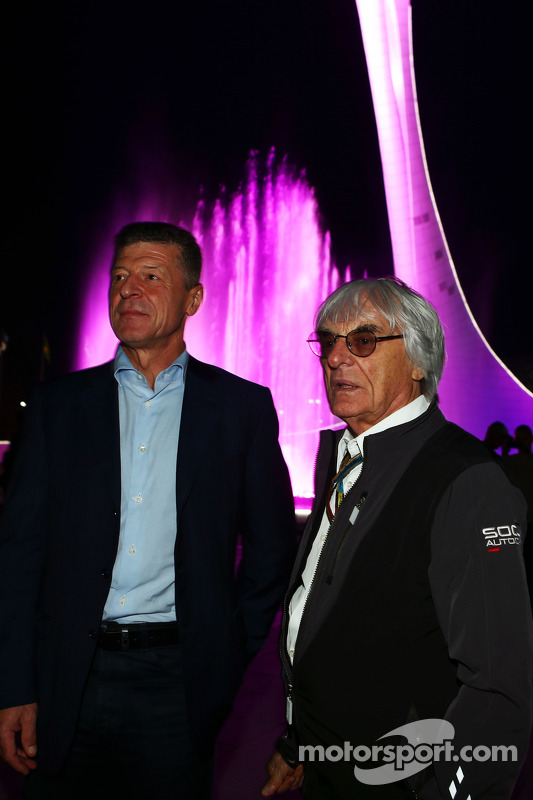 (L to R): Dmitry Kozak, Russian Deputy Prime Minister with Bernie Ecclestone