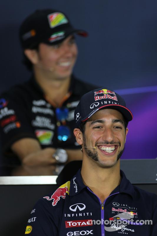 Daniel Ricciardo, Red Bull Racing y Sergio Pérez, Sahara Force India en la conferencia de prensa de
