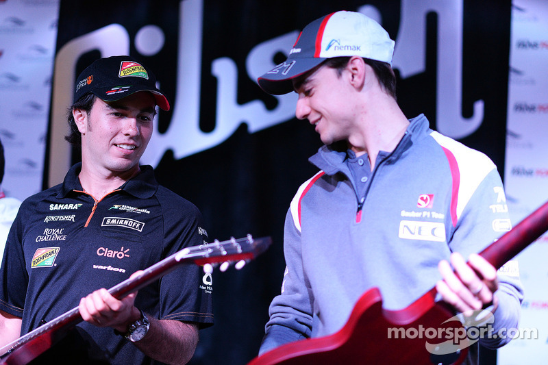 (L to R): Sergio Perez, Sahara Force India F1 and Esteban Gutierrez, Sauber at the Fans' Forum