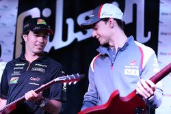 (De izquierda a derecha): Sergio Pérez, Sahara Force India F1 y Esteban Gutiérrez, Sauber en el Foro de Aficionados