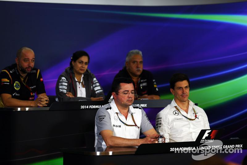 Gerard Lopez, Lotus F1 Takım Patronu; Monisha Kaltenborn, Sauber Takım Müdürü; Dr. Vijay Mallya, Sahara Force India F1 Takım Sahibi; Eric Boullier, McLaren Yarış Direktörü; Toto Wolff, Mercedes AMG F1 Hissedarı ve Genel Müdürü