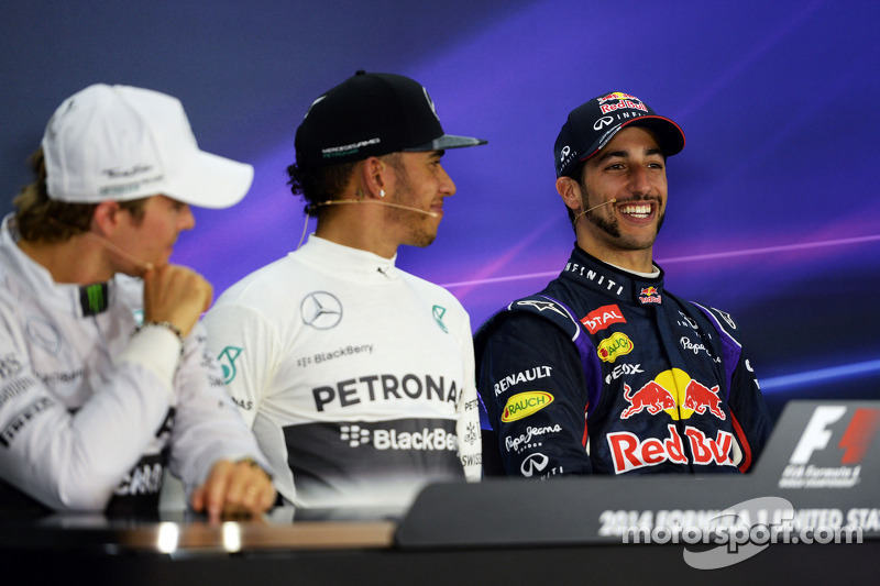 La conferenza stampa FIA: Nico Rosberg, Mercedes AMG F1, secondo; Lewis Hamilton, Mercedes AMG F1, vincitore della gara; Daniel Ricciardo, Red Bull Racing, terzo