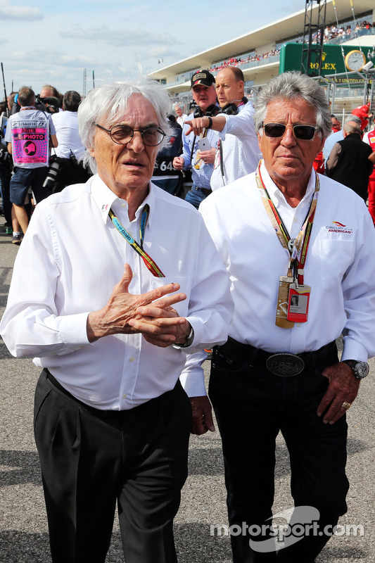 (L to R): Bernie Ecclestone, with Mario Andretti, Circuit of The Americas' Official Ambassador on t