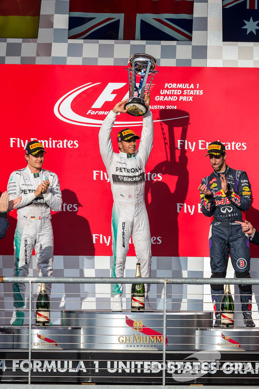 Podium: Nico Rosberg, Mercedes AMG F1, segundo; Lewis Hamilton, Mercedes AMG F1, race El ganador ; Daniel Ricciardo, Red Bull Racing, tercero