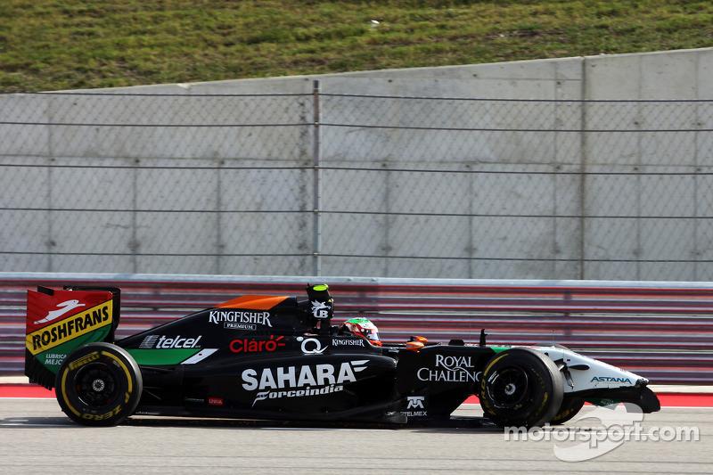 Sergio Perez, Sahara Force India F1 VJM07, torna ai box con l'auto danneggiata nel primo giro di gar