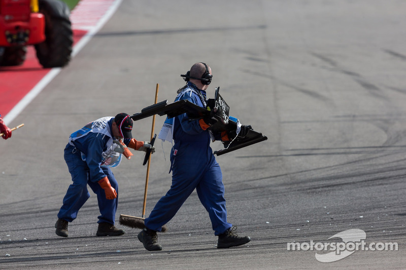 Debris is cleared from the circuit