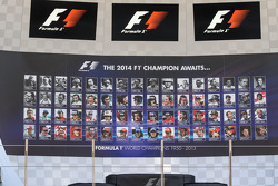 The podium displaying all previous F1 World Champions
