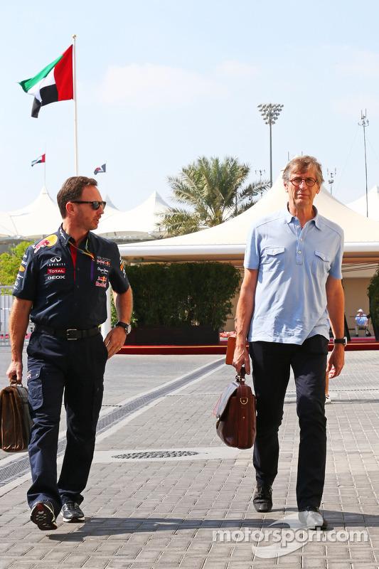 (Esquerda para direita): Christian Horner, chefe de equipe da Red Bull, com Mario Illien, Ilmor Engineering Co-Founder