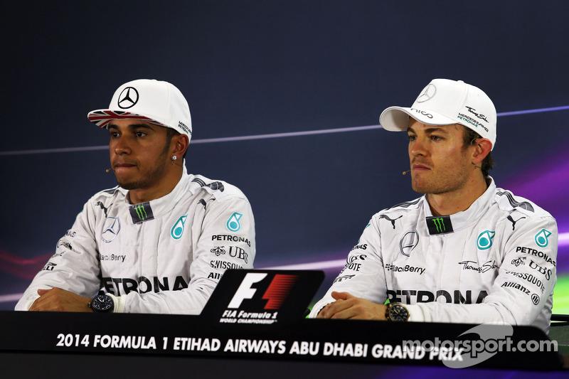 (L to R): Lewis Hamilton, Mercedes AMG F1 and team mate Nico Rosberg, Mercedes AMG F1 in the FIA Pre