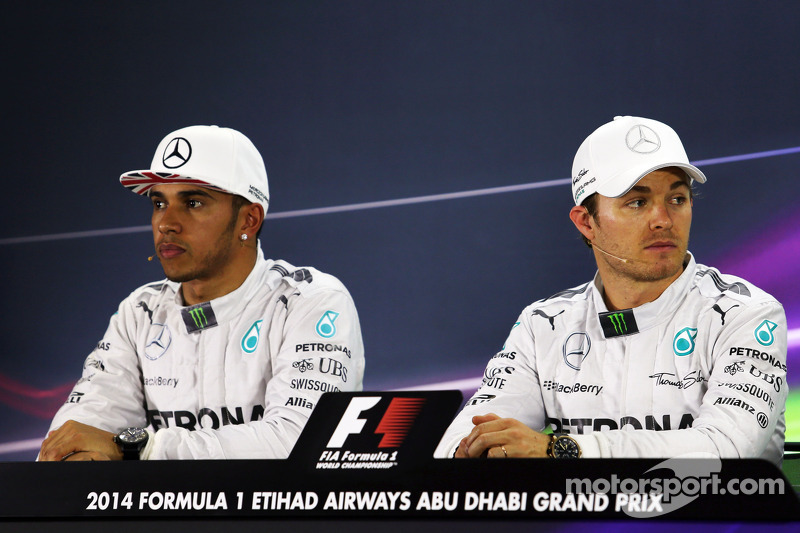 (L to R): Lewis Hamilton, Mercedes AMG F1 and team mate Nico Rosberg, Mercedes AMG F1 in the FIA Pre