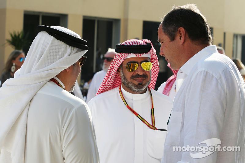 Principe Salman bin Hamad Al Khalifa, principe ereditario del Bahrain, con Gerhard Berger,
