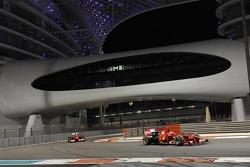 Ferrari F1 cars driven by Kimi Raikkonen and Marc Gene