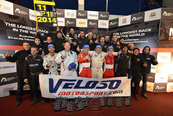 Podium: #11 Formula Racing Seat Leon: Jose Antonio Monroy, Mikkel Mac, Lars Steffensen, Bo McCormick,  Johnny Laursen and the rest of the team celebrate