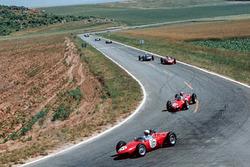 Phil Hill, Ferrari 156, leads team mate Wolfgang  von Trips, Ferrari 156