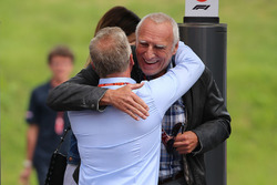 Johnny Herbert, Sky TV and Dietrich Mateschitz, CEO and Founder of Red Bull