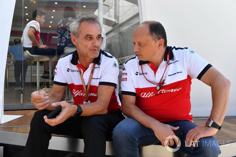 Beat Zehnder, manager de Sauber et Frederic Vasseur, directeur de Sauber