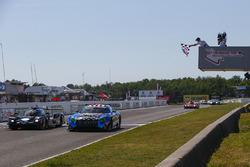 #33 Riley Motorsports Mercedes AMG GT3, GTD: Jeroen Bleekemolen, Ben Keating, Crosses the Start / Finish Line under the Checkered Flag