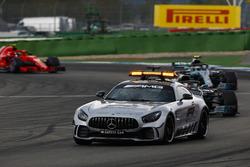 The Safety Car leads Lewis Hamilton, Mercedes AMG F1 W09, Valtteri Bottas, Mercedes AMG F1 W09, and Kimi Raikkonen, Ferrari SF71H