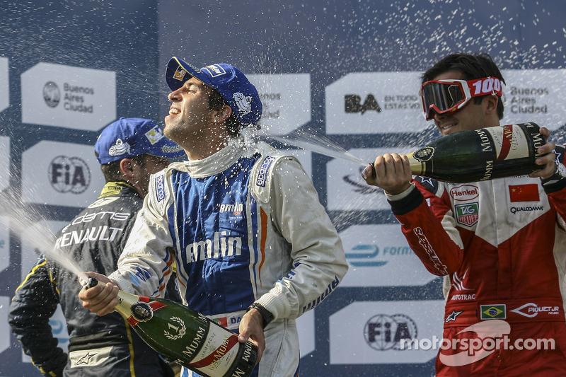 Podium: race winner Antonio Felix da Costa, second place Nicolas Prost, third place Nelson Piquet Jr..