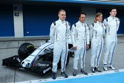 Präsentation Williams FW37: Valtteri Bottas, Williams; Felipe Massa, Williams; Susie Wolff, Williams-Entwicklungsfahrerin; Alex Lynn, Williams-Entwicklungsfahrer