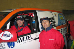 Toyota Challenge team driver Manuel Marques Paulo and co-driver Benedi Rui Rodrigues with the Toyota LC120