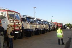 Trucks in the scrutineering line-up
