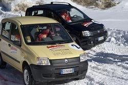 Fiat Panda race: Rubens Barrichello and Michael Schumacher