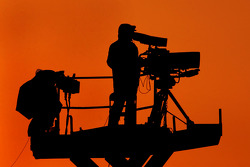 Cameraman at work in the sunset