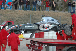 The wrecked McLaren Mercedes MP4-20