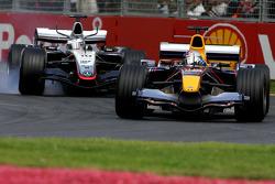 David Coulthard battles with Juan Pablo Montoya
