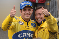 Race winner Alex Barros celebrates with team manager Sito Pons