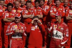 Ferrari photoshoot: Michael Schumacher, Jean Todt and Rubens Barrichello