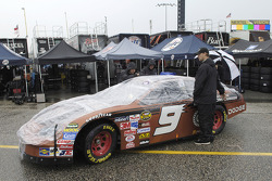 Evernham Motorsports Dodge waits in the inspection line after practice was canceled for the NASCAR Nextel Series Dodge Charger 500