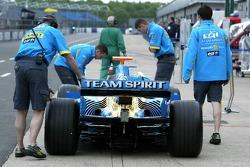 Renault F1 team members prepare for testing