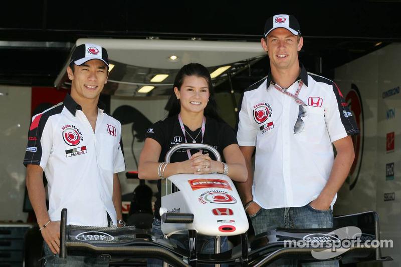 Takuma Sato, Danica Patrick y Jenson Button