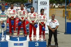 Podium: winners Sébastien Loeb and Daniel Elena with Carlos Sainz and Marc Marti