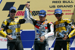 Podium: race winner Nicky Hayden celebrates with Colin Edwards and Valentino Rossi