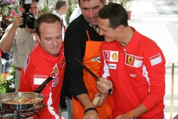 Vodafone event at the Intercontinental hotel: Rubens Barrichello and Michael Schumacher
