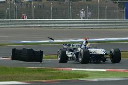 Mark Webber after his crash with Michael Schumacher