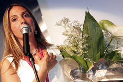 Nani Rodriguez with flowers