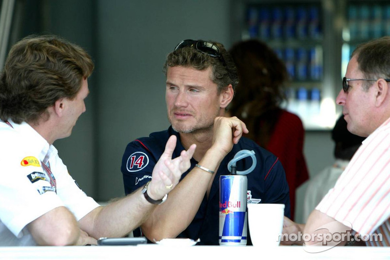 Christian Horner, David Coulthard y Martin Brundell