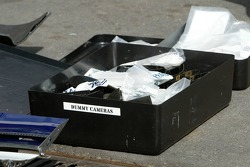 A box of dummy cameras